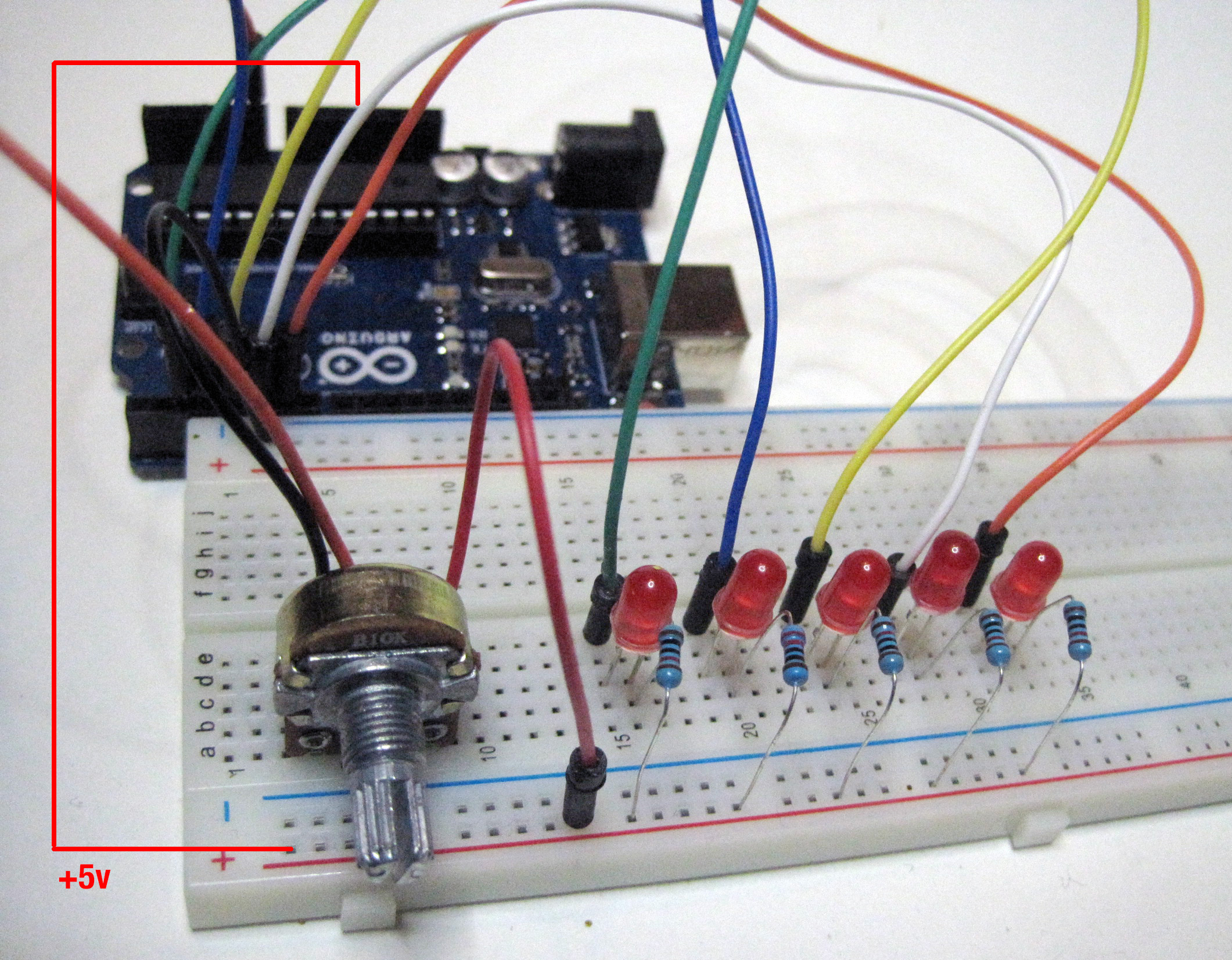 5 LEDs to individual pins connections 2